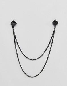 Матовые квадратные уголки для воротника с цепочками DesignB эксклюзивно для ASOS - Черный
