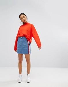 Джинсовая мини-юбка с полосками по бокам Daisy Street - Синий
