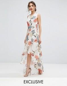 Асимметричное платье макси с цветочным принтом и оборками Hope & Ivy - Мульти