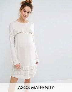 Платье с оборками и расклешенными рукавами ASOS MATERNITY - Stone