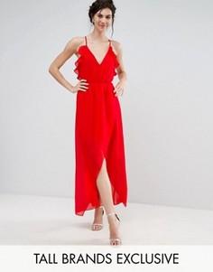 Платье миди асимметричной длины с рюшами и лямками на спине TD By True Decadence Tall - Красный