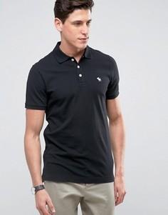 Черная облегающая футболка-поло из эластичного пике Abercrombie & Fitch - Черный
