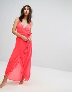 Пляжное платье макси с запахом New Look - Оранжевый