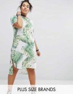 Трикотажное платье с пальмовым принтом и асимметричным краем Pink Clove - Мульти