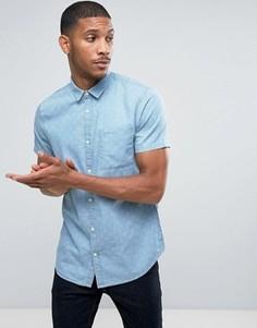Джинсовая рубашка классического кроя с принтом New Look - Синий