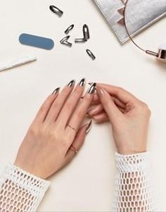 Накладные ногти серебристого цвета Models Own Chrome - Серебряный