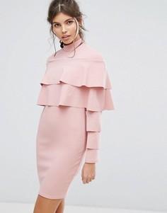 Облегающее платье с оборками Club L - Розовый