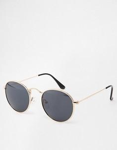 Круглые солнцезащитные очки D-Struct - Золотой