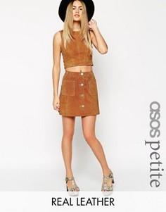 Замшевая юбка-трапеция на пуговицах ASOS PETITE - Коричневый