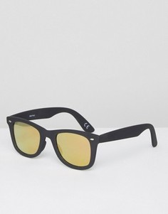 Квадратные солнцезащитные очки с оранжевыми линзами ASOS - Черный