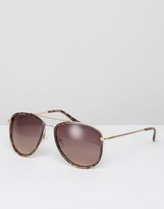 Солнцезащитные очки-авиаторы в черепаховой оправе ASOS - Коричневый