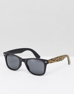 Черные квадратные солнцезащитные очки с леопардовыми дужками ASOS - Черный