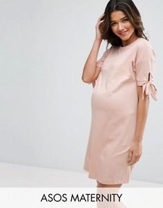 Платье-футболка с бантами на рукавах ASOS Maternity - Розовый