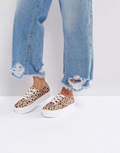 Кроссовки с леопардовым принтом на платформе Monki - Коричневый
