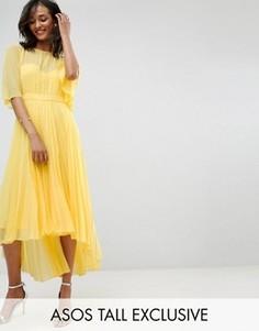 Платье миди с плиссированной юбкой и удлиненным сзади краем ASOS TALL - Желтый