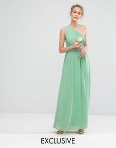 Платье макси на одно плечо с отделкой TFNC WEDDING - Зеленый