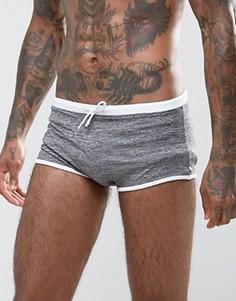 Серые меланжевые шорты-хипстеры для плавания ASOS - Серый