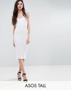 Облегающее платье миди на бретельках ASOS TALL - Белый