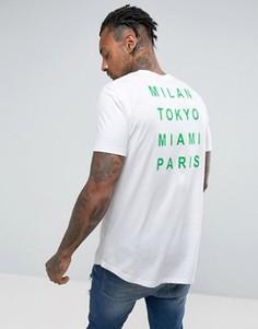 Белая длинная футболка с принтом на спине и закругленным краем ASOS - Белый