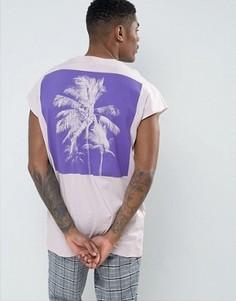 Свободная футболка без рукавов с принтом ASOS - Фиолетовый