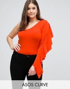 Боди на одно плечо с рукавом-оборкой ASOS CURVE - Красный