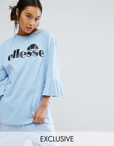 Oversize-футболка с оборками на рукавах и логотипом Ellesse - Синий
