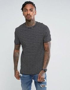 Длинная обтягивающая футболка в рубчик с полосками ASOS - Черный