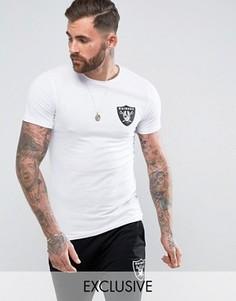 Длинная обтягивающая футболка Majestic Raiders эксклюзивно для ASOS - Белый