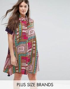 Свободное платье-рубашка с принтом и короткими рукавами Alice & You - Мульти