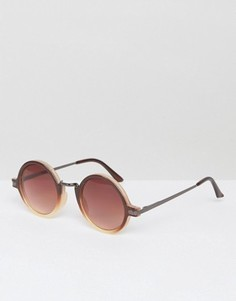 Круглые солнцезащитные очки в толстой коричневой оправе AJ Morgan Rotunda - Коричневый