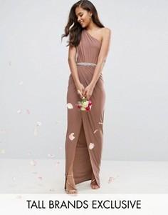 Платье макси на одно плечо с декорированным поясом Club L Tall - Розовый