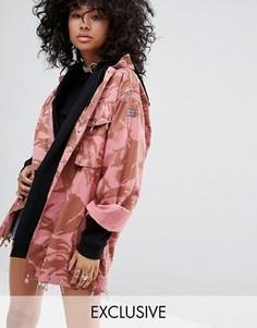 Окрашенная винтажная куртка-рубашка в стиле милитари со стразами Milk It - Розовый