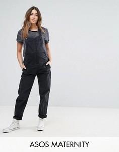 Выбеленный джинсовый комбинезон черного цвета ASOS MATERNITY - Черный