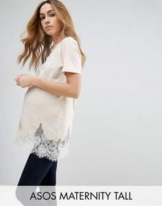Длинная футболка с кружевной отделкой ASOS Maternity TALL - Розовый