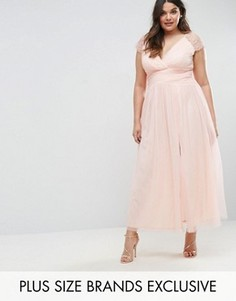 Платье макси с кружевной отделкой Little Mistress Plus - Розовый