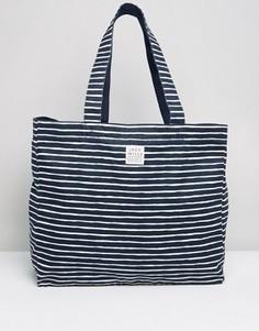 Темно-синяя хлопковая пляжная сумка в полоску Jack Wills - Темно-синий