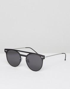 Круглые солнцезащитные очки с планкой сверху в черной оправе Spitfire - Черный