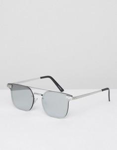 Серебристые квадратные солнцезащитные очки с планкой сверху Spitfire - Серебряный