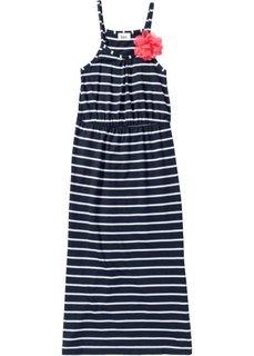 Платье в пол с декоративным цветком (темно-синий/белый в полоску) Bonprix