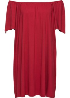 Трикотажное платье с вырезом Кармен (темно-красный) Bonprix