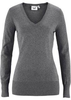 Пуловер тонкой вязки (серый меланж) Bonprix