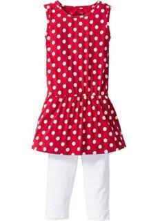 Платье + легинсы-капри (2 изд.) (красный/белый в горошек) Bonprix