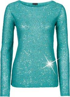Пуловер с пайетками (темно-изумрудный/золотистый) Bonprix