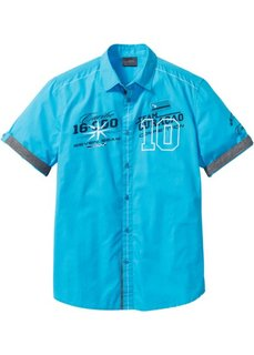 Рубашка Regular Fit с коротким рукавом (бирюзовый) Bonprix
