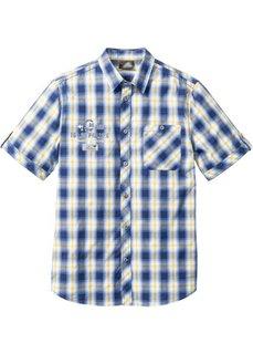 Клетчатая рубашка Regular Fit (синий/желтый в клетку) Bonprix