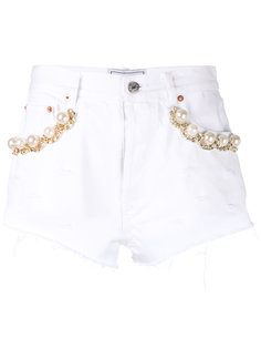 pearl and chain trim shorts Forte Couture