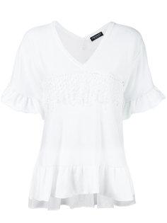 футболка с V-образным вырезом и оборками Twin-Set
