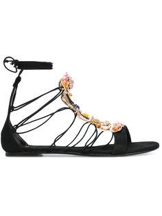 сандалии со шнуровкой и крашением из кристаллов  Casadei