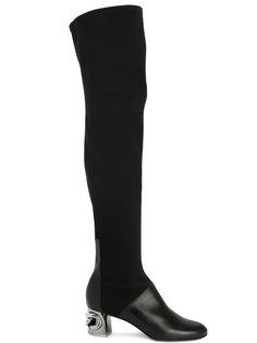 сапоги-ботфорты на каблуках металлик Casadei