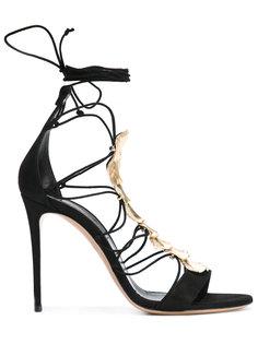 босоножки со шнуровкой и украшением из кристаллов Casadei